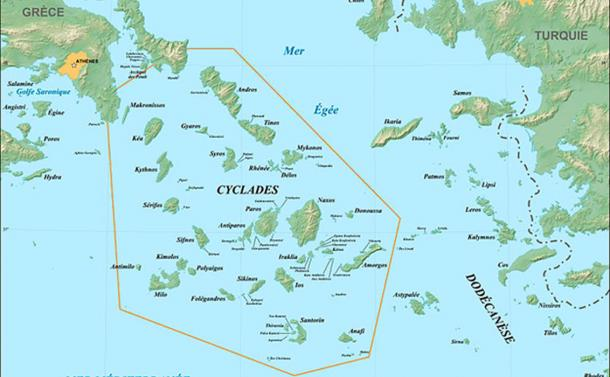 Map of the Aegean Sea and Cyclades islands (Gaba, E / CC BY-SA 3.0)