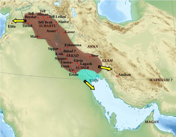 Map of the Akkadian Empire and the directions in which military campaigns were conducted. (Zunkir / CC BY-SA 3.0)