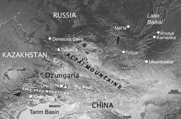 Map of the Altai, Tarim Basin and Baikal regions of Central and Eastern Asia showing Upper Paleolithic sites and other locations mentioned in The Cygnus Key, including the Denisova Cave. (Image credit: Andrew Collins)