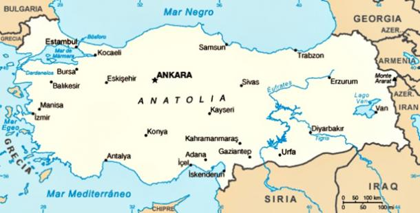 Map of the Anatolian peninsula - the origin of the first European farmers, according to the recent study.