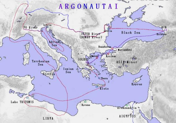 Map of the Argonauts' route. Note Colchis (Kohlkis) in the upper right.