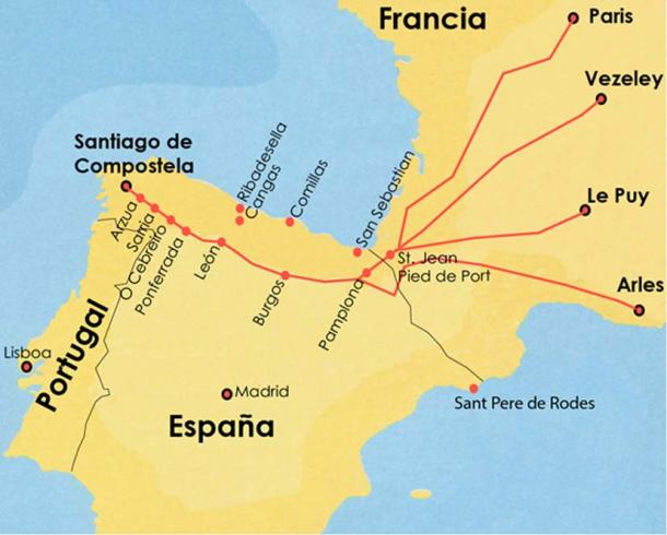 Map of the Camino de Santiago/The French Way (Courtesy author ©Elyn Aviva)