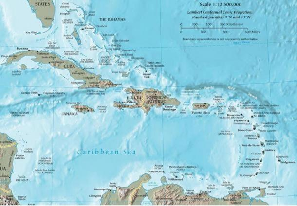 Map of the Caribbean Sea and Basin