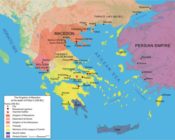 Map of the Kingdom of Macedon at the death of Philip II in 336 BC. (Hogweard / CC BY-SA 3.0)