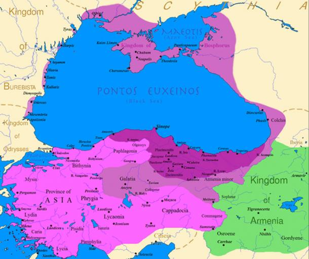 Map of the Kingdom of Pontus, before the reign of Mithridates VI (dark purple), after his conquests (purple), his conquests in the first Mithridatic wars (pink) and Pontus' ally the Kingdom of Armenia (green).