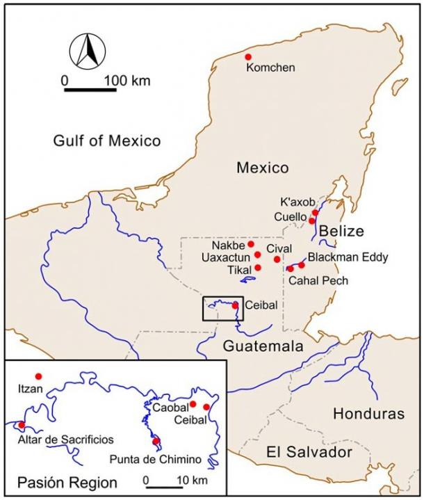 Map of the Maya area with inset of Pasiòn region