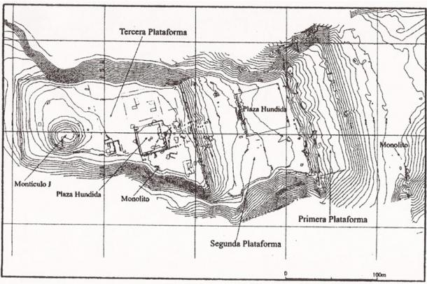 Map of the Pacopampa archaeological site, Chota Province, Cajamarca region, Peru.