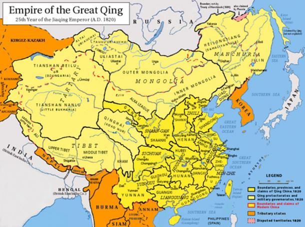 Map of the Qing Dynasty in 1820. (Includes provincial boundaries and the boundaries of modern China for reference (CC BY-SA 3.0)