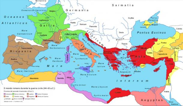Map of the Roman Republic in 43 BC after the establishment of the Second Triumvirate: Antony (green), Lepidus (brown), Octavian (purple), Triumvirs collectively (orange/peach), Sextus Pompey (blue), The Liberators (red), Rome's client kingdoms (yellow), Ptolemaic Egypt (pink).