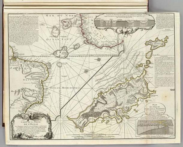"""""""Map of the Southern Lands contained between the Tropic of Capricorn and the Antarctic Pole, where the new discoveries made in 1739 to the south of the Cape of Good Hope may be seen"""" by Philippe Buache."""