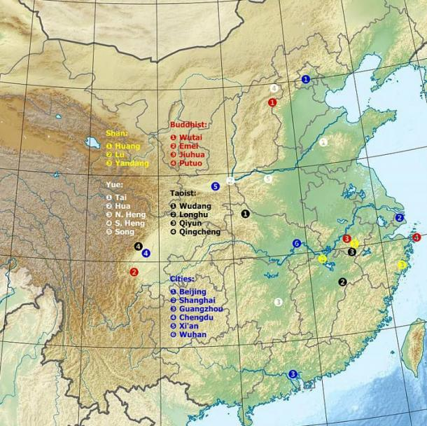 Map of the great mountains of China.