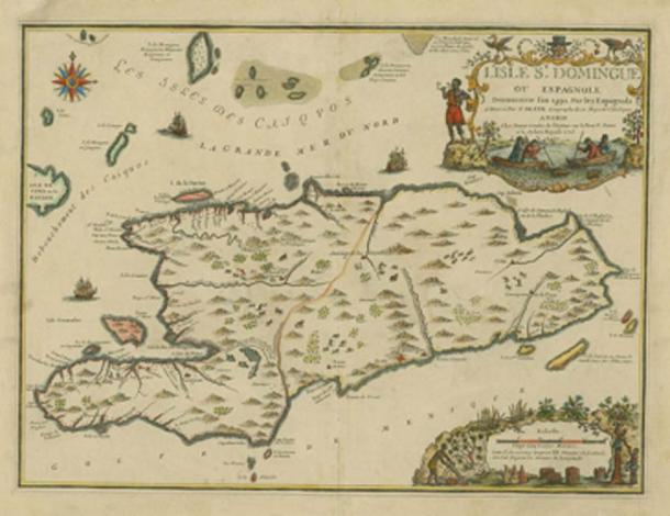 Map of the island of Hispaniola, or Saint Domingue, which contains present day Haiti and the Dominican Republic. (Fernandezmv / Public Domain)