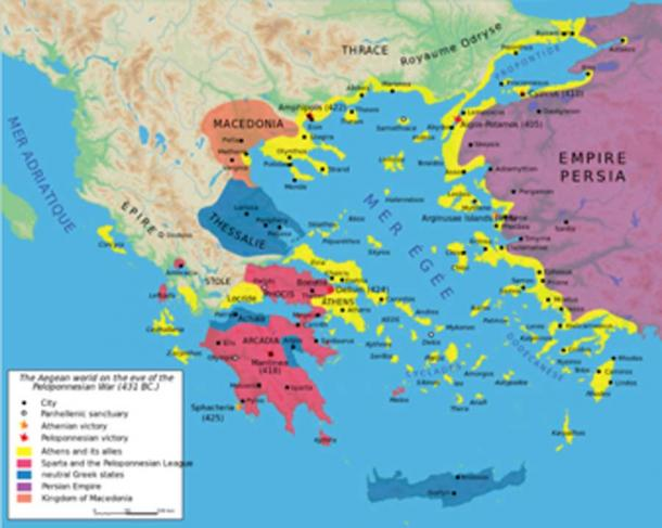 Map of the nations during the start of the Peloponnesian War around 431 BC. (Aeonx / CC BY-SA 3.0)