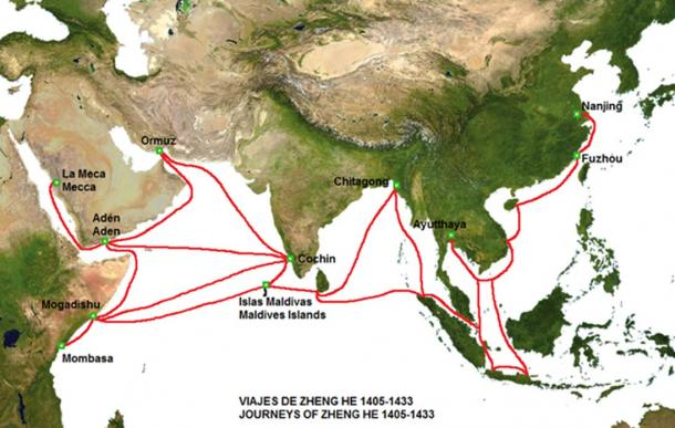 Map of the routes of Zheng He from 1404-1433 includes a visit to Sri Lanka