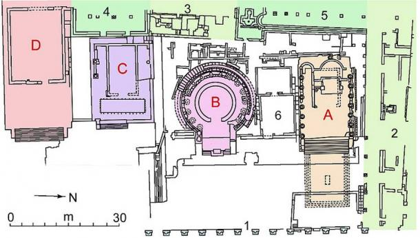 Map of the sacred area of Largo Argentina, in Rome. In red the four temples A, B, C, D.
