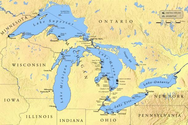 Hundreds Of Shipwrecks Revealed In Lake Michigan As Water Clears - Mapa de michigan