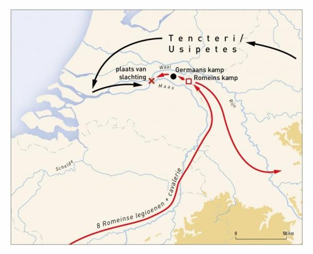 Map of the site, and red indicating the movements and encampments of the Romans and tribes.