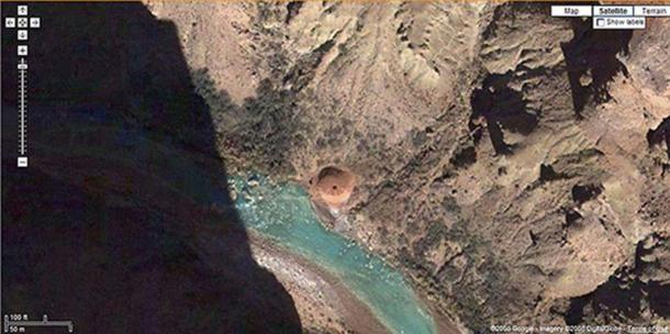 Map of travertine dome at Grand Canyon. (Source: Google Earth, 2017)