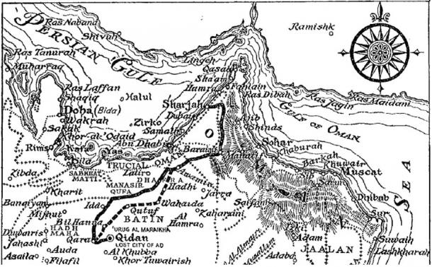 Map illustration from 'Sand Kings of Oman' published by Methuen in 1947.
