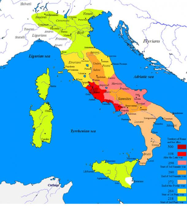 Map showing Roman expansion in Italy. (Javierfv1212 / Public Domain)