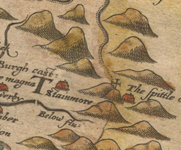 Map showing The Spittle (later known as Spital) on Stainmore (1579)