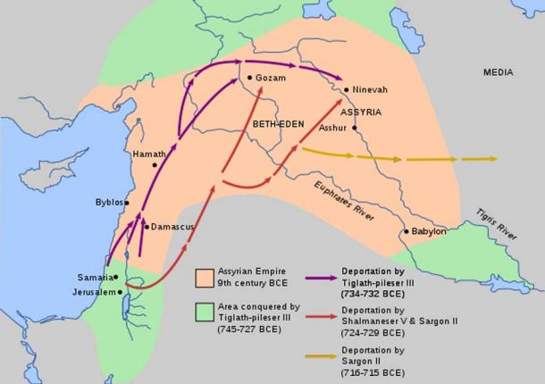Map showing Tiglath's conquests (green) and deportation of Israelites. Tiglath-Pileser III discouraged revolts against Assyrian rule with the use of forced deportations of thousands of people all over the empire.