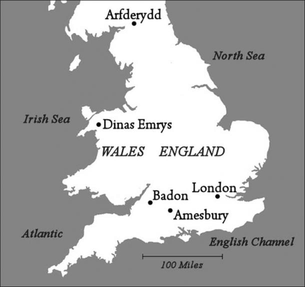 Map showing sites associated with Merlin and the Arthurian legend.