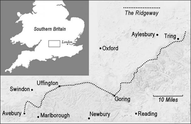 Map showing the Ridgeway in southern Britain, possibly the oldest road in the world. (© Graham Phillips)