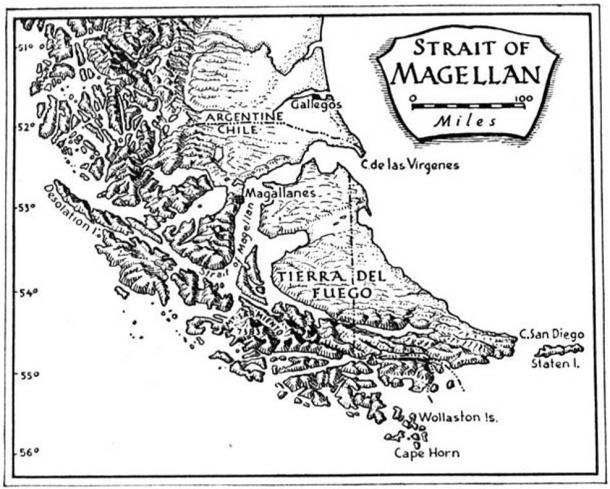 Map showing the Strait of Magellan.
