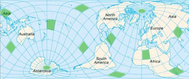 Карта, показваща приблизителните местоположения на Vile Vortices
