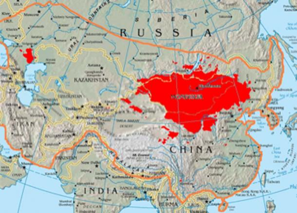 Map showing the boundary of 13th century Mongol Empire compared to today's Mongols in Mongolia, Russia, the Central Asian States, and China. (Anchuhu / CC BY-SA 3.0)