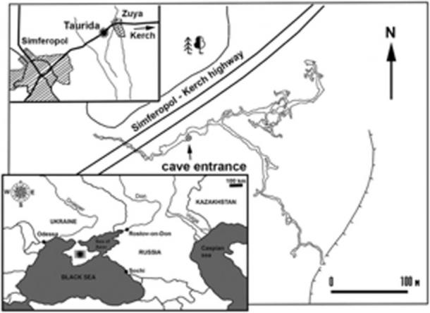 Map showing the geographical location of the fossil locality and the cave plan. (Lopatin / Journal of Vertebrate Paleontology)