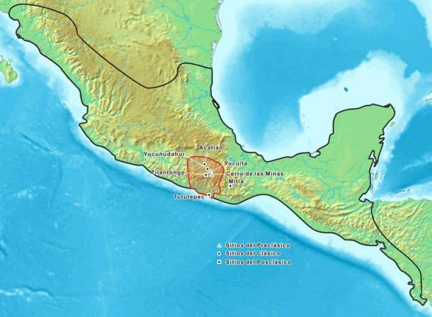 Map showing the historic Mixtec area. Pre-Classic archeological sites are marked with a triangle, Classic sites with a round dot, and Post-Classic sites with a square