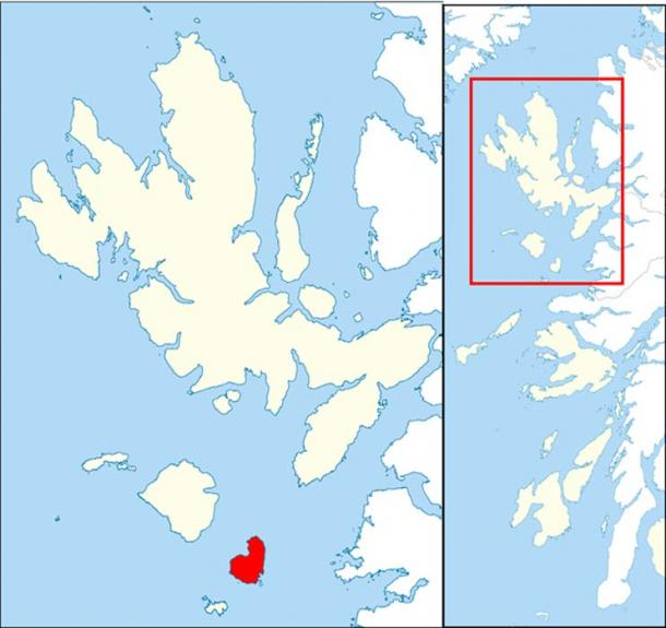 Map showing the location of Eigg near Skye and the Small Isles