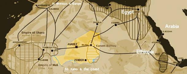 Map showing the main Trans-Saharan caravan routes circa 1400. (TL Miles / Public Domain)