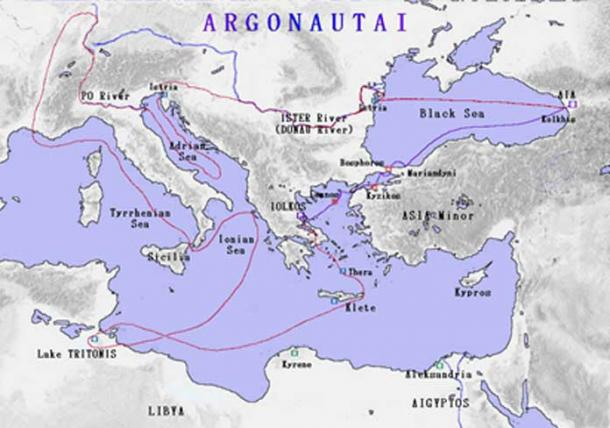 Map showing the route taken by the Argo as detailed in the Argonautica.