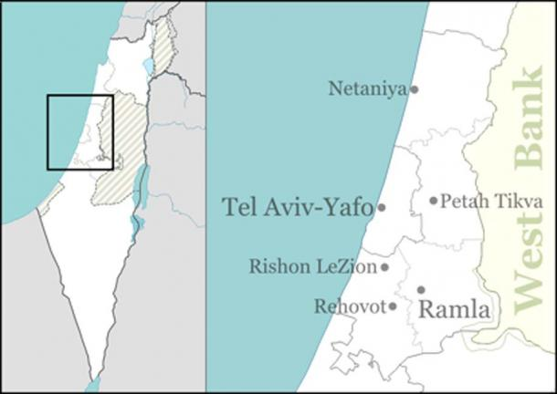 Map showing the site of the Qesem cave near Tel Aviv. (Picture courtesy: Wikipedia Commons Agreement, 2019)