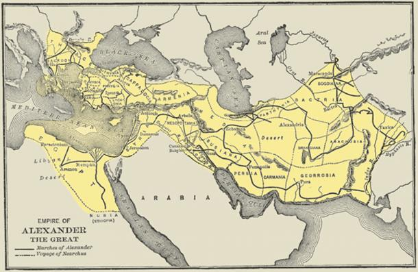 Map showing voyages of Nearchus and the campaigns of Alexander until shortly after acquiring the Persian Empire – from A History of the Ancient World, George Willis Botsford Ph.D., The MacMillan Company, 1913. (Public Domain)