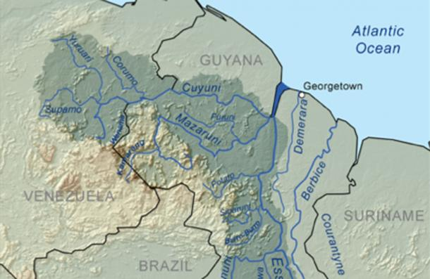 Map showing where the three rivers meet (KMusser / CC BY-SA 3.0)