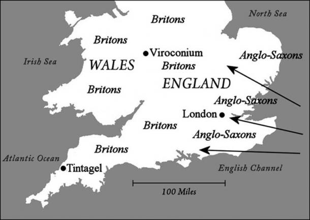 Map: Southern Britain around AD 500 when King Arthur is said to have lived.