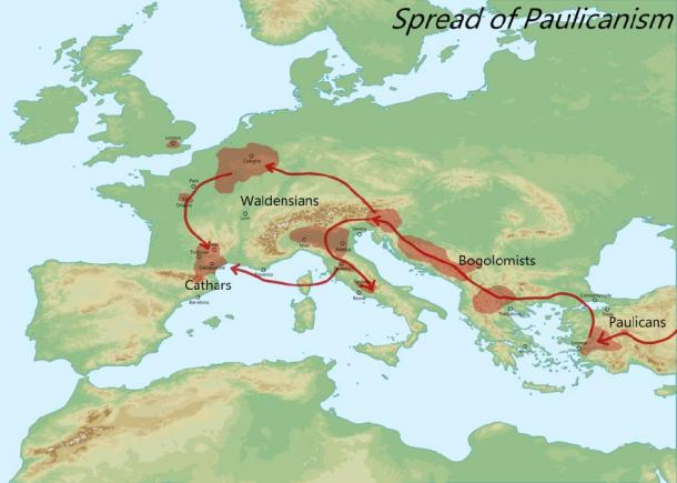 Map showing spread of Paulicianism across Europe, the beginning of the Cathars. (Aldan-2 / CC BY-SA 4.0)