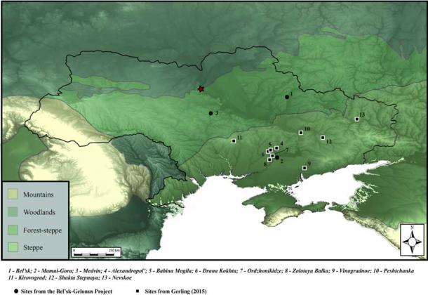 In this map of the Ukraine and its surroundings, the remains discovered and under analysis have been marked. (Miller et. al / PLOS ONE )