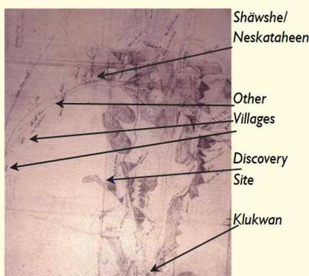 Map made by Chilkat trading chief Kohklux in 1852, which shows his Klukwan home, as well as the villages on the Tatshenshini River. The approximate location of the Kwäday Dän Ts'ìnchi discovery site has been added.