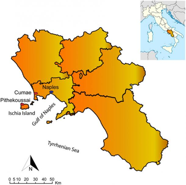 Map showing location of Pithekoussai, modern-day Ischia Island, in the Gulf of Naples, Italy. (Gigante et. al / PLOS)
