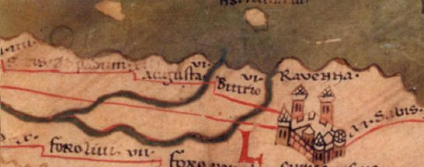 Map from the 4th century showing the city of Ravenna, capital of the Ostrogothic Kingdom. (D A R C 12345 / Public Domain)