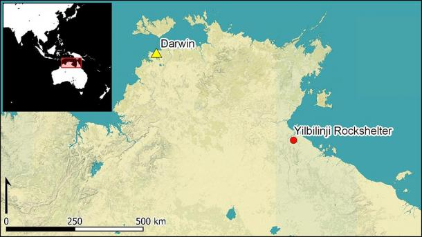 Map of the Yilbilinji Rockshelter in relation to Darwin in Australia, where the Aboriginal rock art can be found. (Antiquity Publications Ltd)