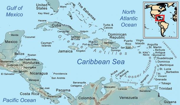 Map of the Caribbean Sea and its islands. (Kmusser / CC BY-SA 3.0)