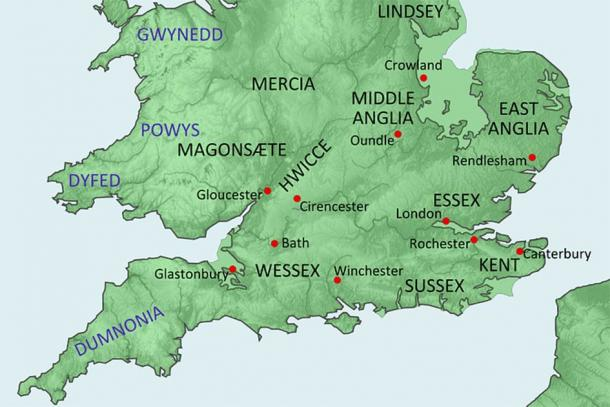 Map of England c 600 AD with Dumnonia in the south west (Image by Hel-hama)