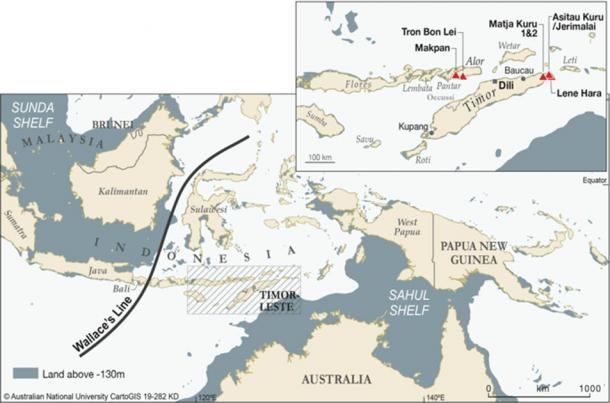 Maps showing the location of the Late Pleistocene human sites studied within Wallacea. Asitau Kuru, Lene Hara, Matja Kuru 1 and 2 (Timor), Makpan, and Tron Bon Lei (Alor). (Roberts et al. 2020)