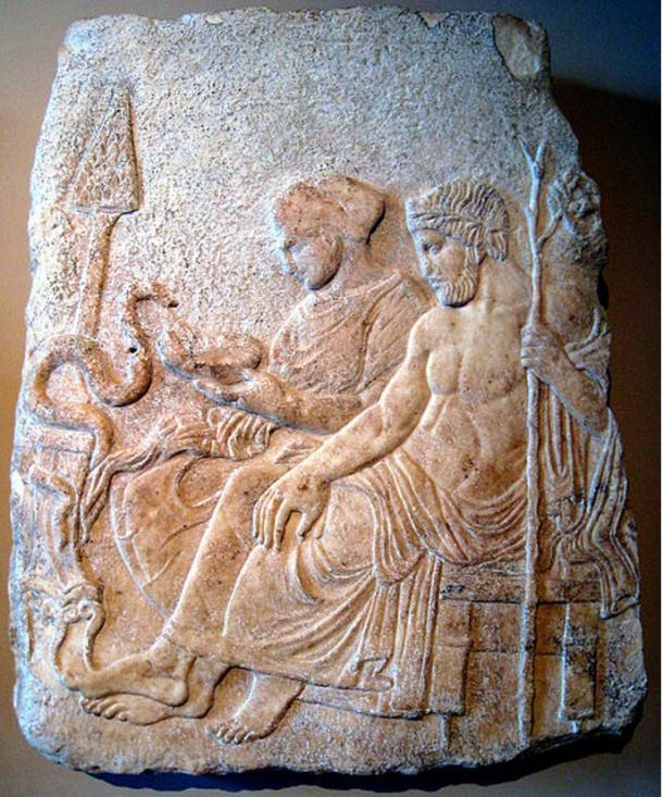 Marble relief of Asclepius and his daughter Hygieia. From Therme, Greece, end of the 5th century BC. Istanbul Archaeological Museums.